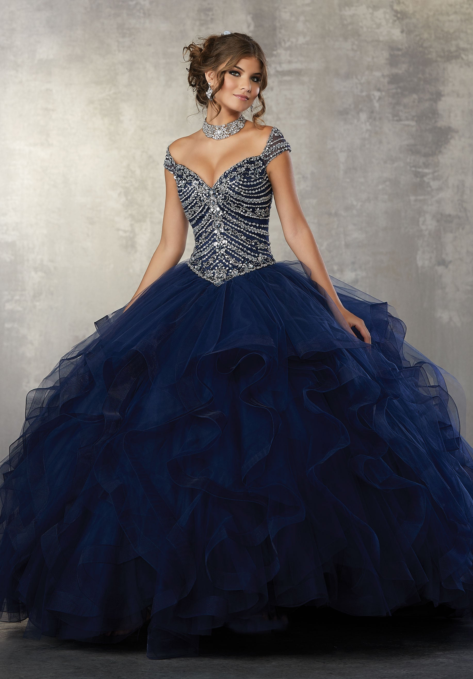 78051 Quinceanera Tulle Ballgown with a Jewel Beaded Bodice