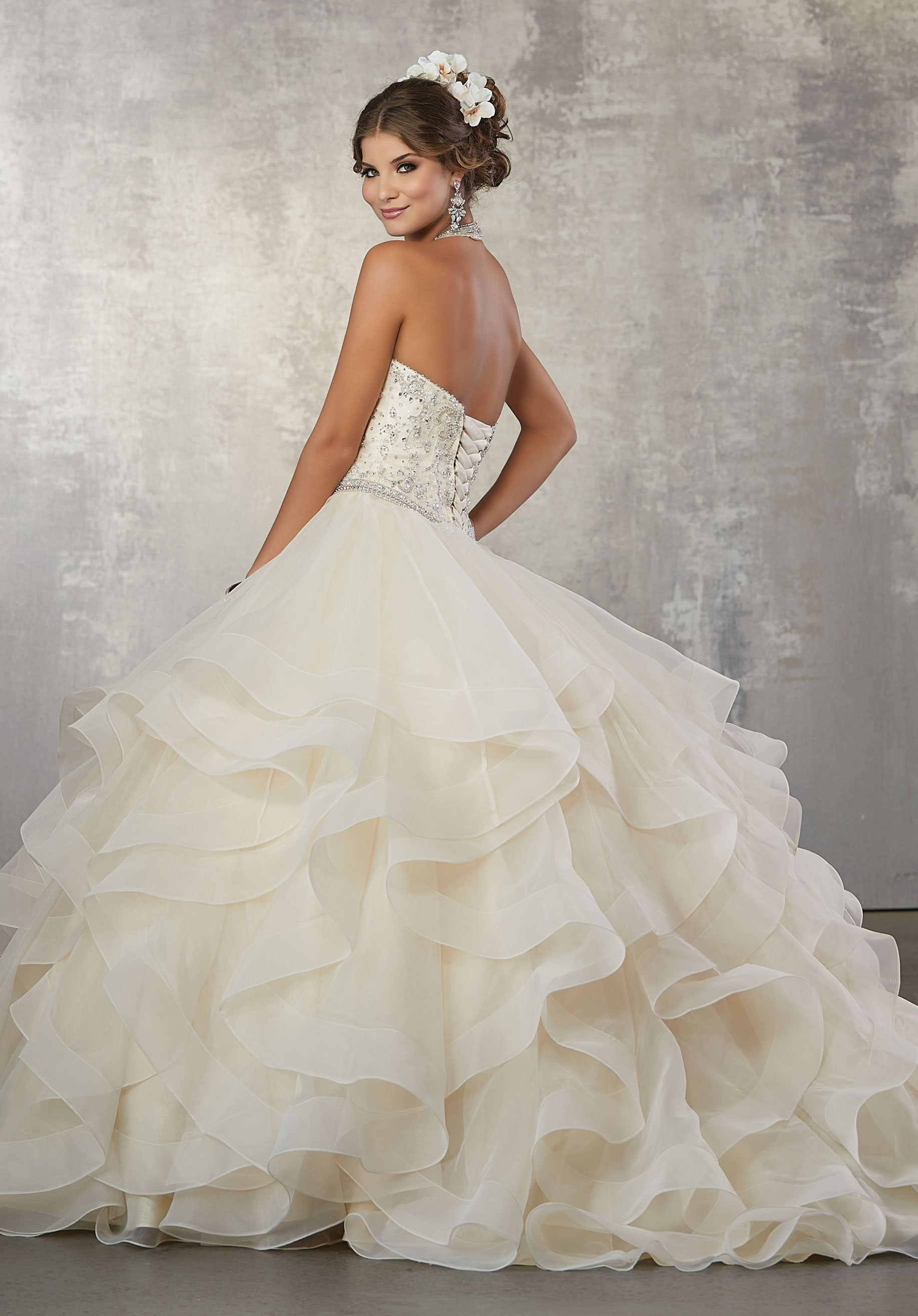 9546dfc3a84 78053 Quinceanera Ballgown with Crystal Beading on a Flounced Organza