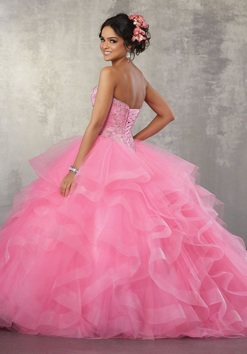 1bd479310cf 78055 Quinceanera Ballgown with a Crystal Beaded Bodice on a Flounced Tulle