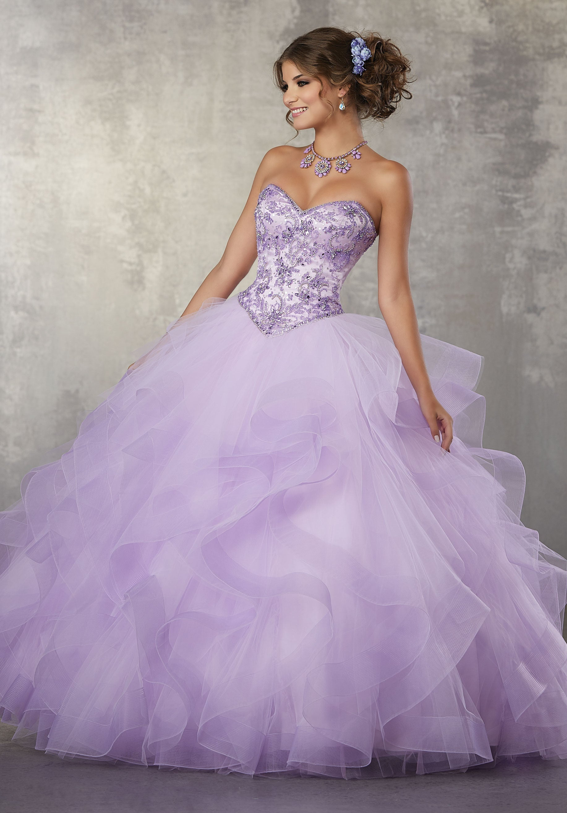 78055 Quinceanera Ballgown with a Crystal Beaded Bodice on a Flounced Tulle