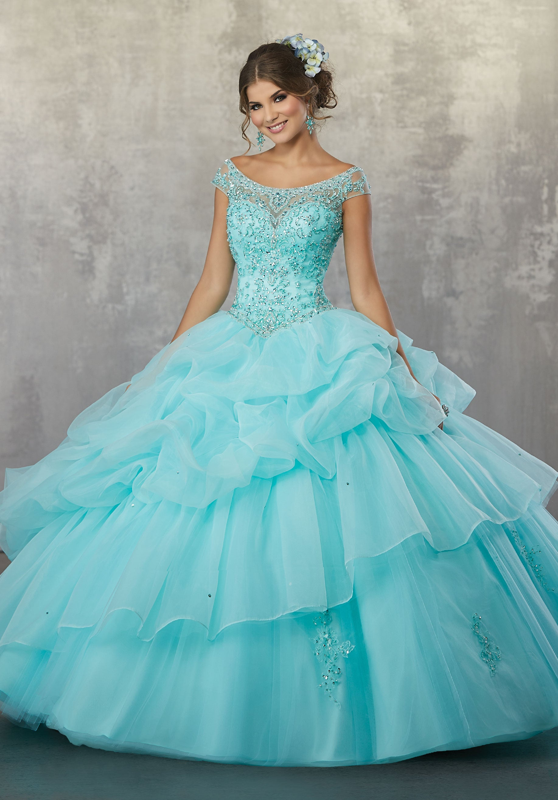 78056 Quinceanera Ballgown with Beaded Embroidery on a Ruched Organza and Tulle