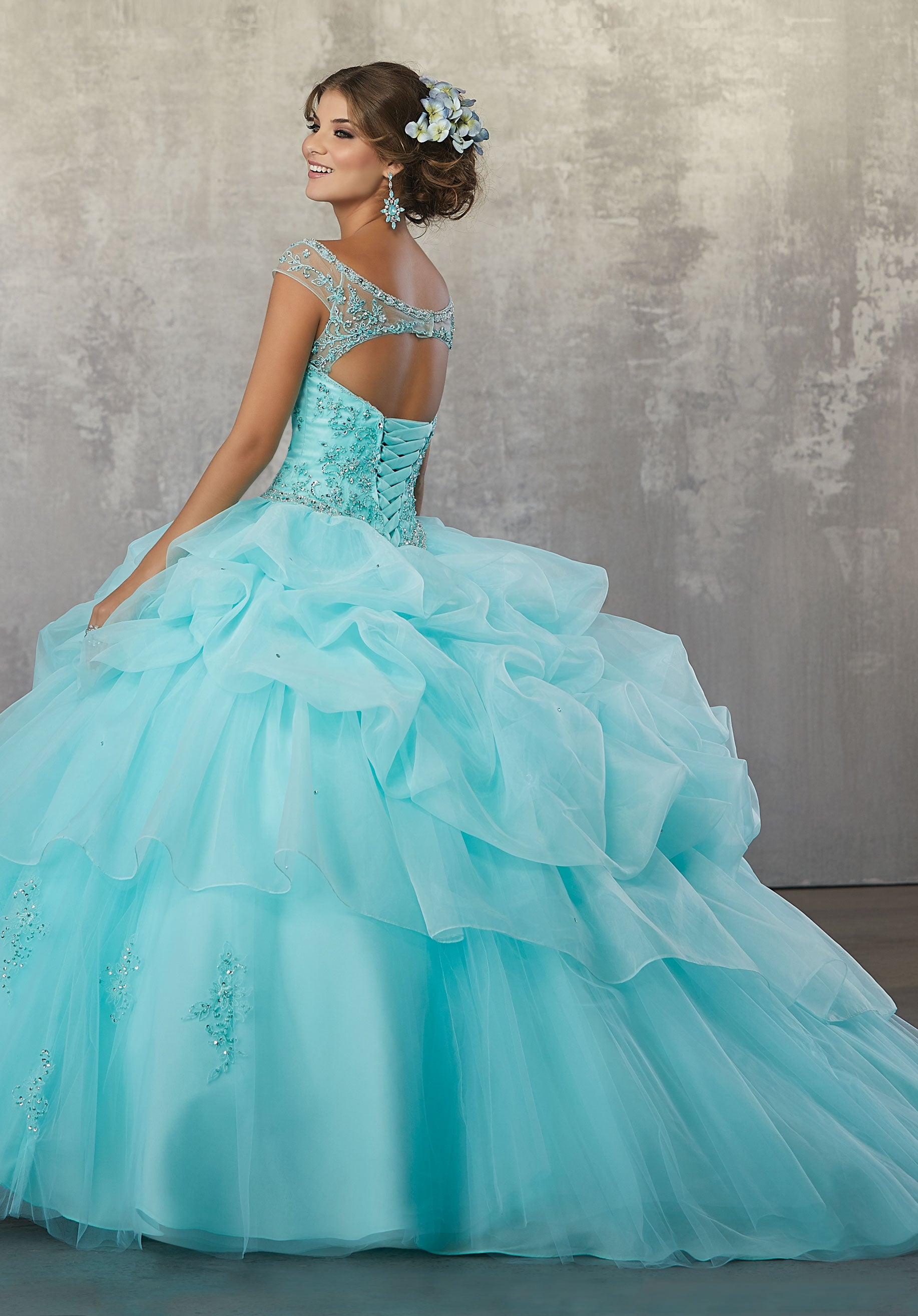 d1bf9bbe0f3 78056 Quinceanera Ballgown with Beaded Embroidery on a Ruched Organza and  Tulle