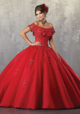 78057 Tulle Quinceanera Ballgown with Beaded Lace Appliqués and Flounced Neckline