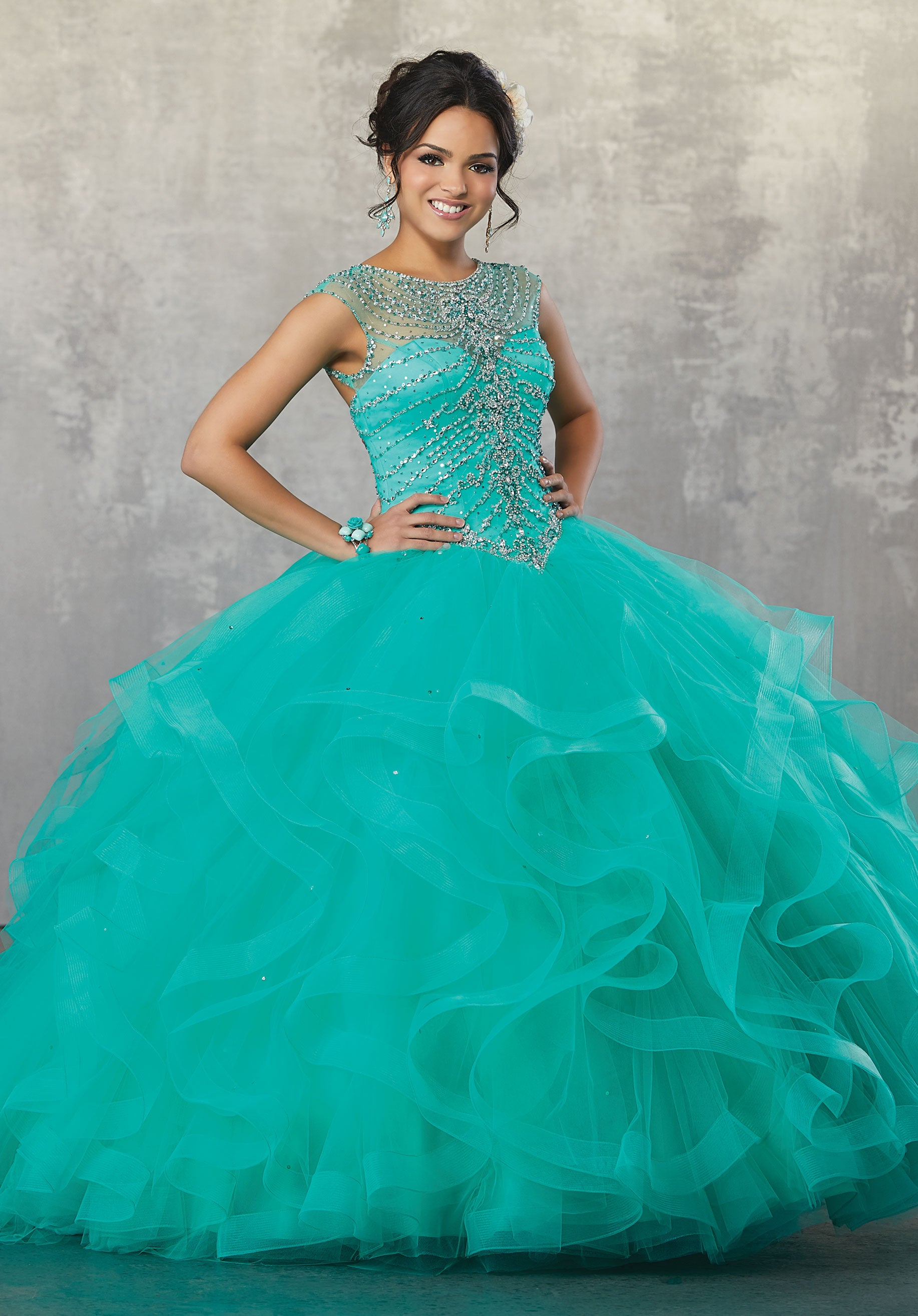 78058 Quinceanera Ballgown with a Jewel Beaded Bodice on a Flounced Tulle