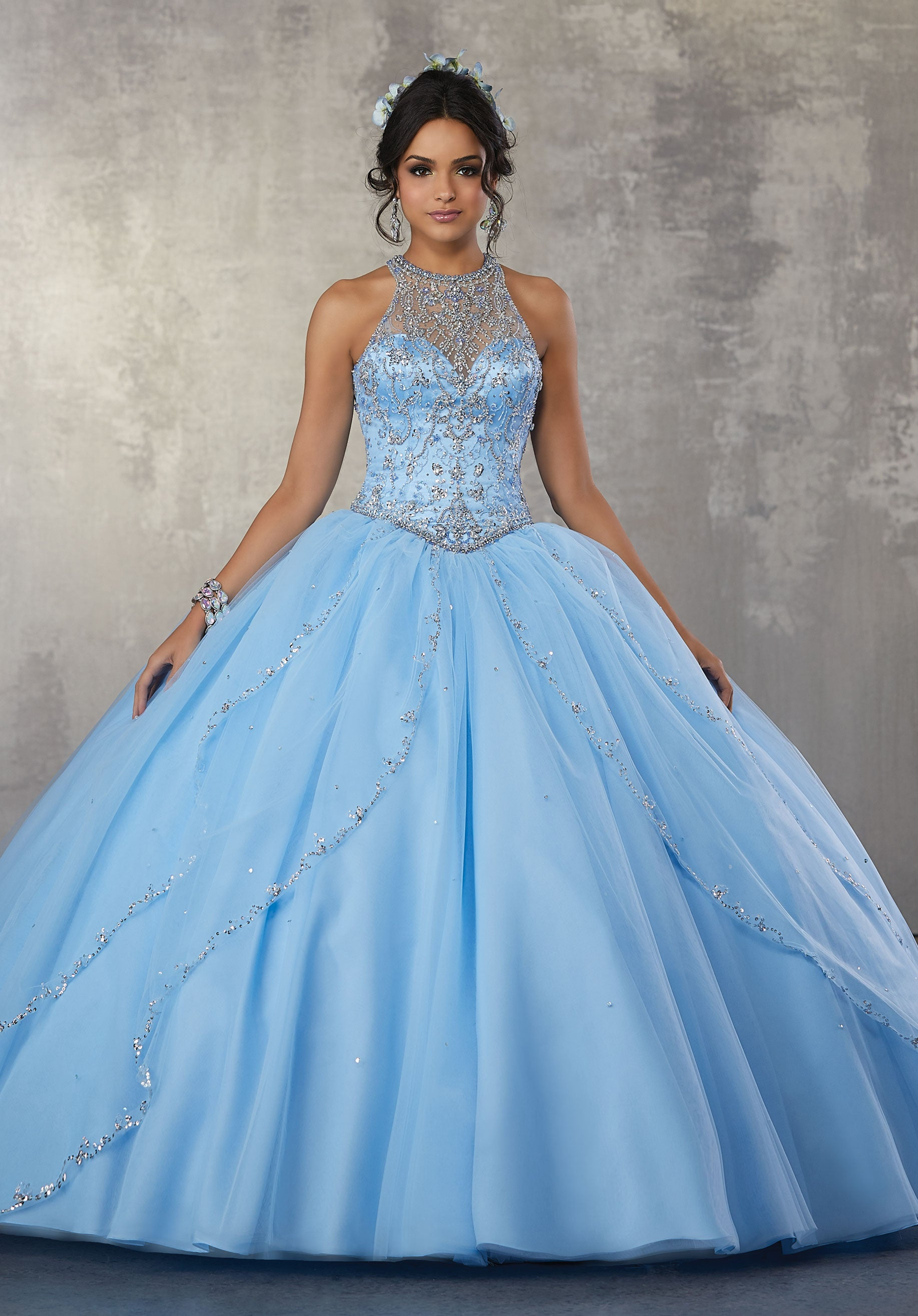 78069 Quinceanera Princess Tulle Ballgown with Beaded Trim and Beaded Bodice