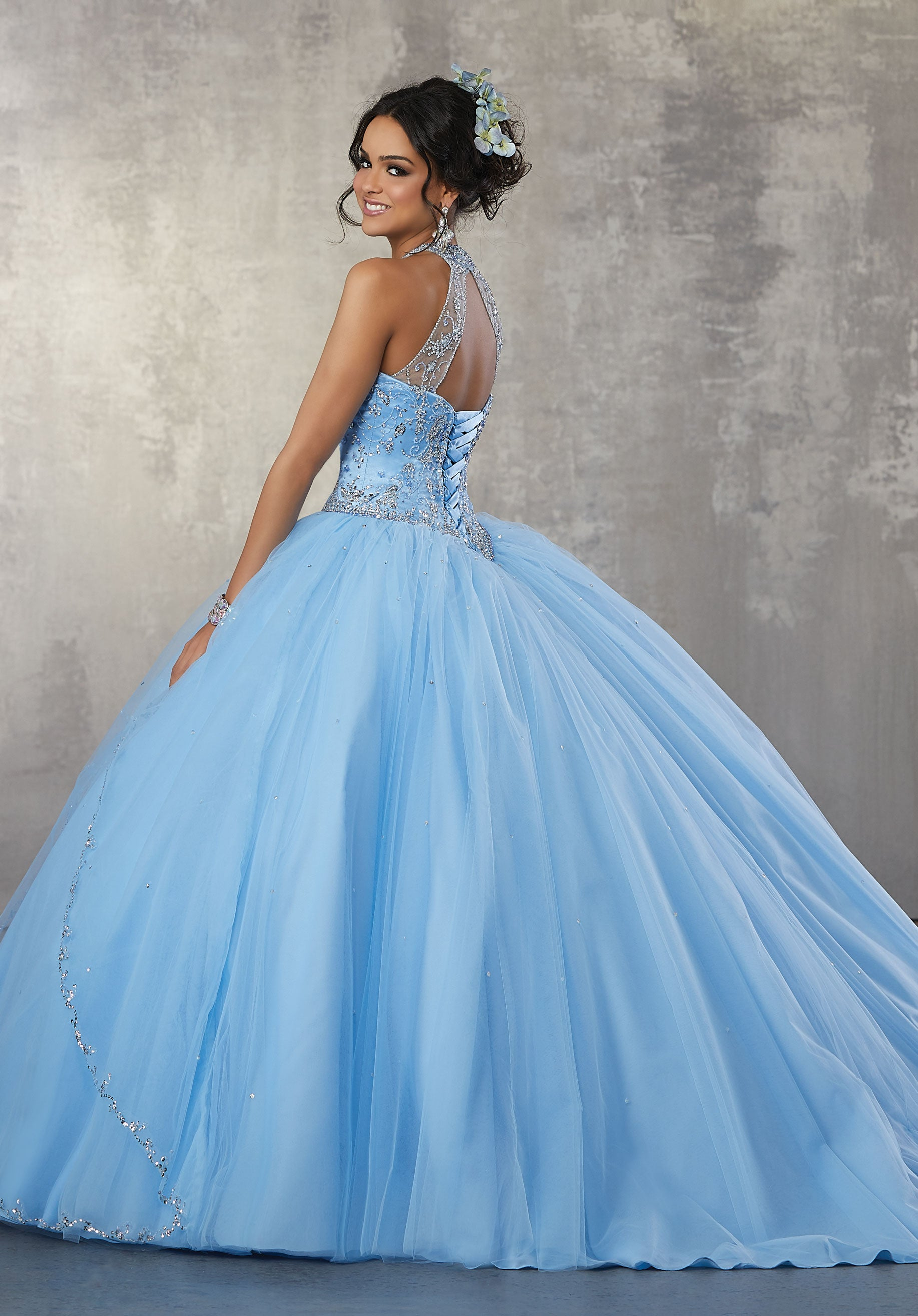78069 Quinceanera Princess Tulle Ballgown with Beaded Trim and ...