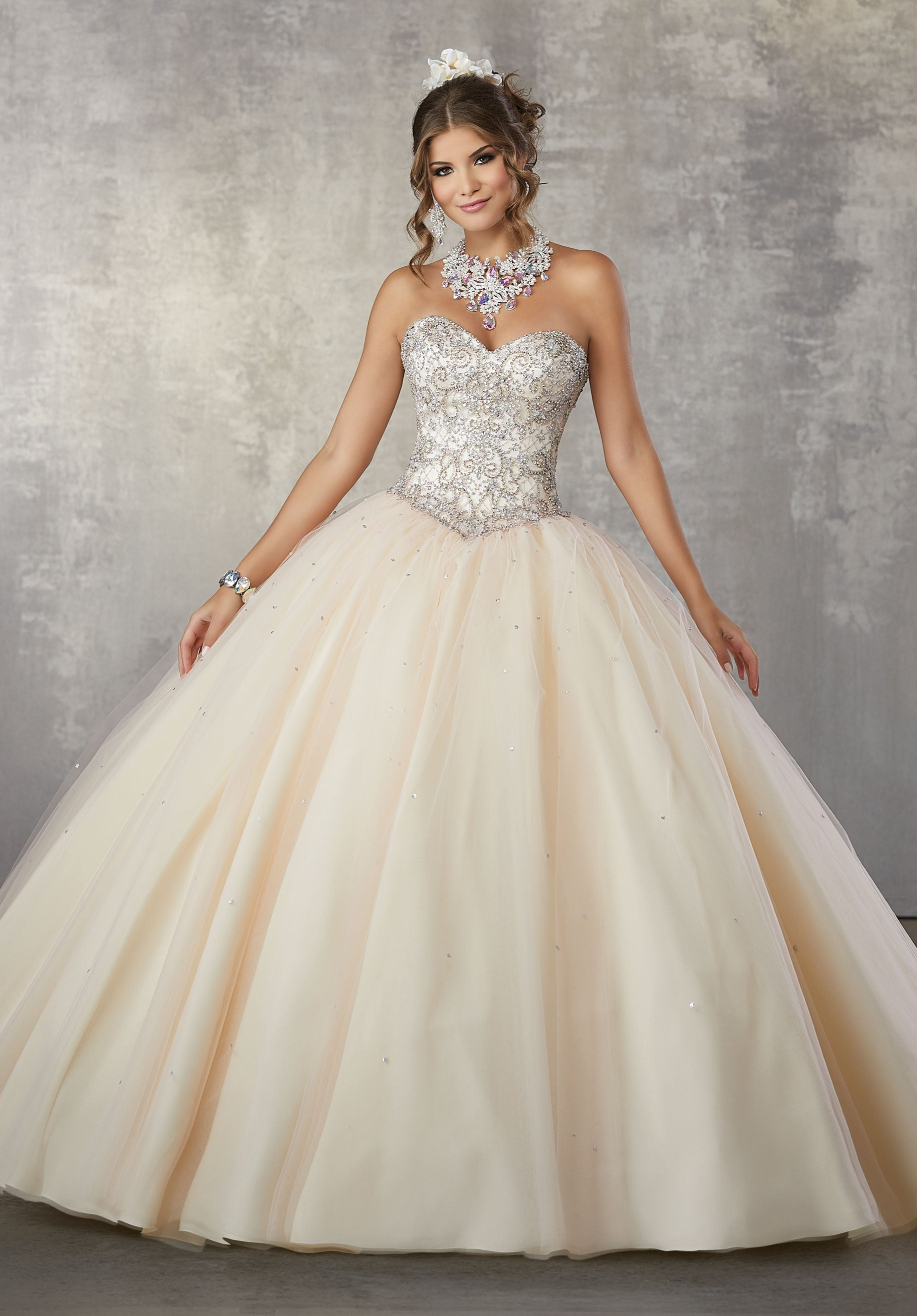 131d962f39a 78060 Tulle Quinceañera Ballgown with Beaded Skirt and Bodice ...
