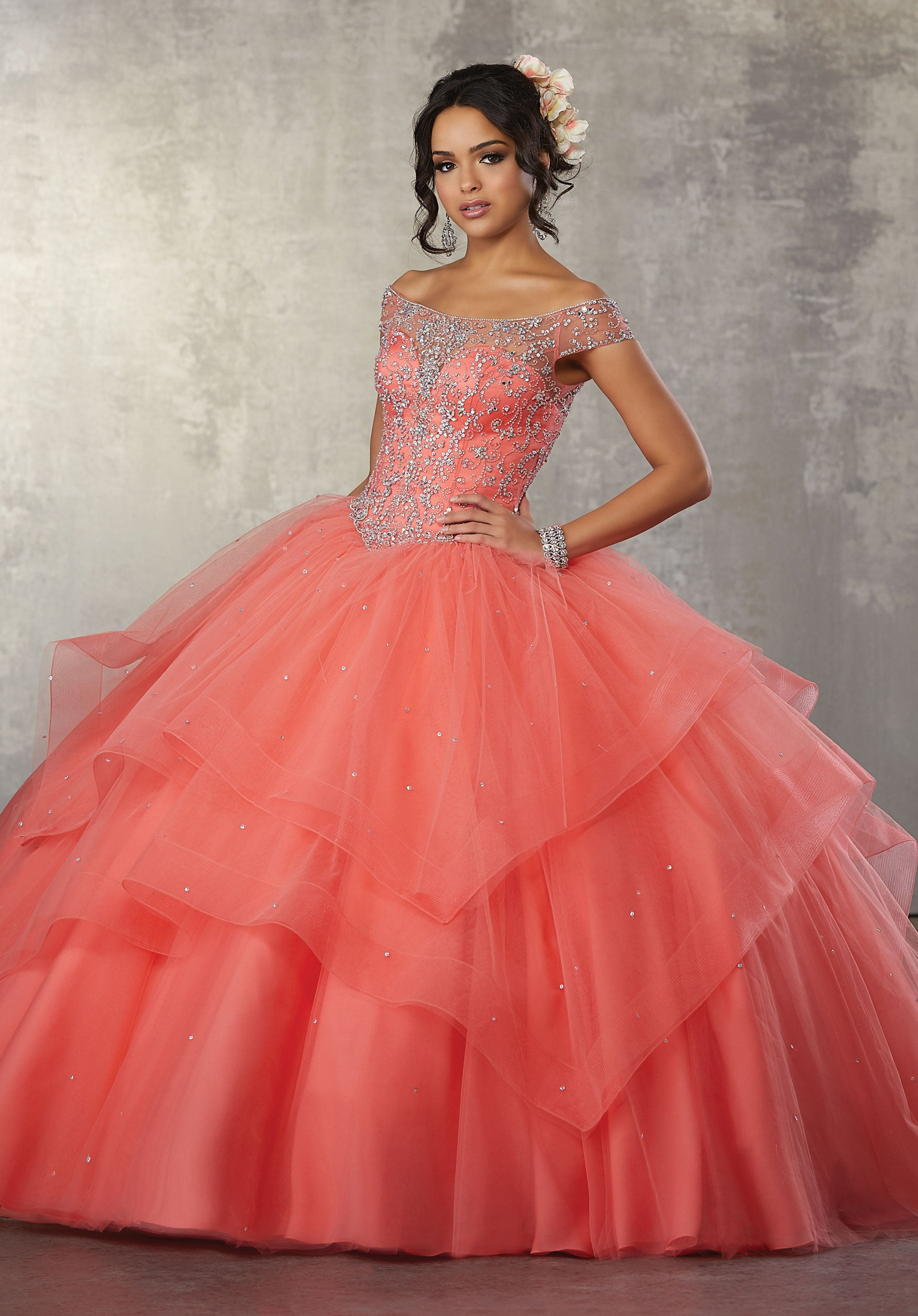78061 Tulle Quinceañera Dress with a Beautiful Illusion Off the Shoulder Neckline