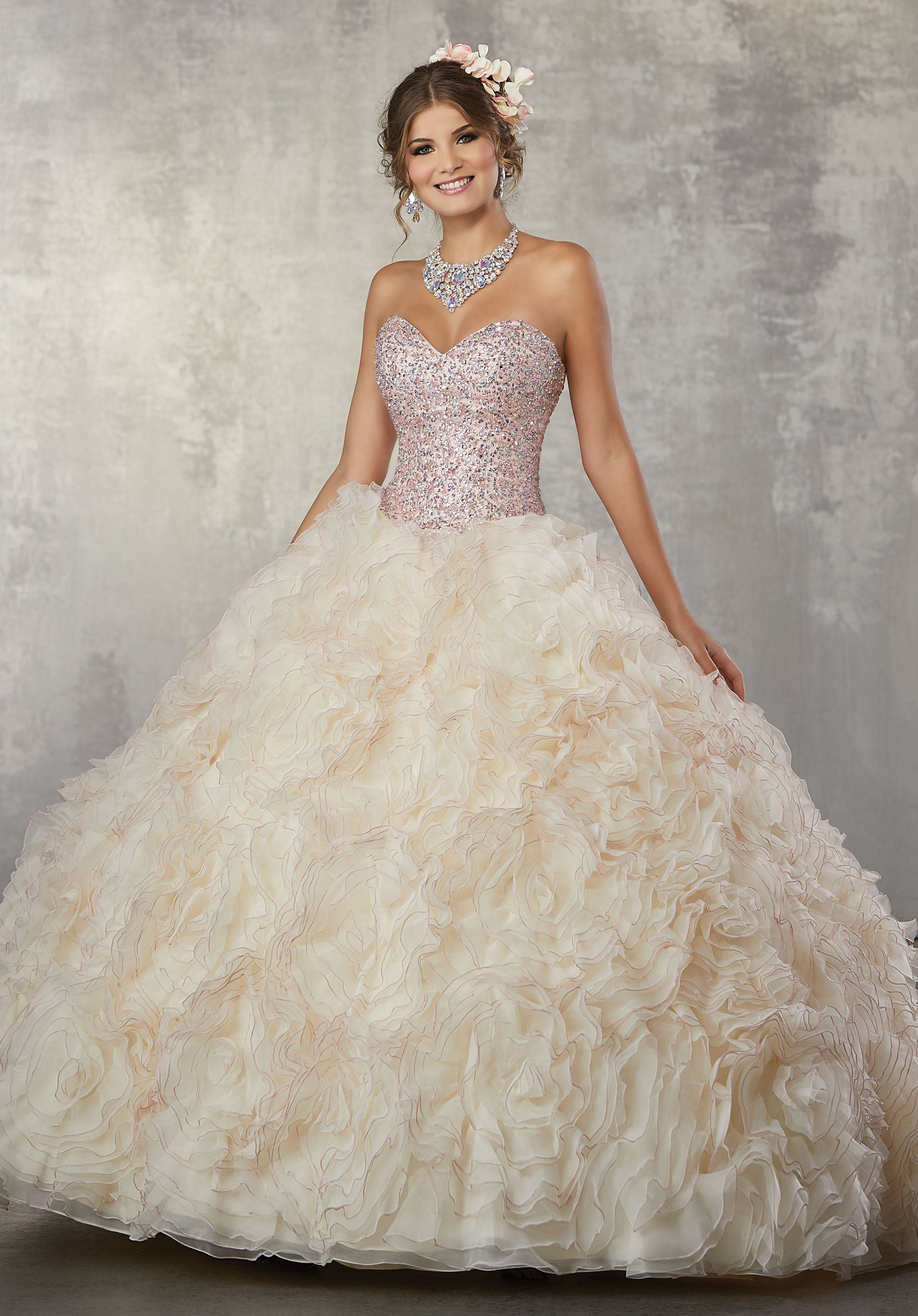 78062 Quinceañera Ballgown that Features a Fully Beaded Sweetheart ...