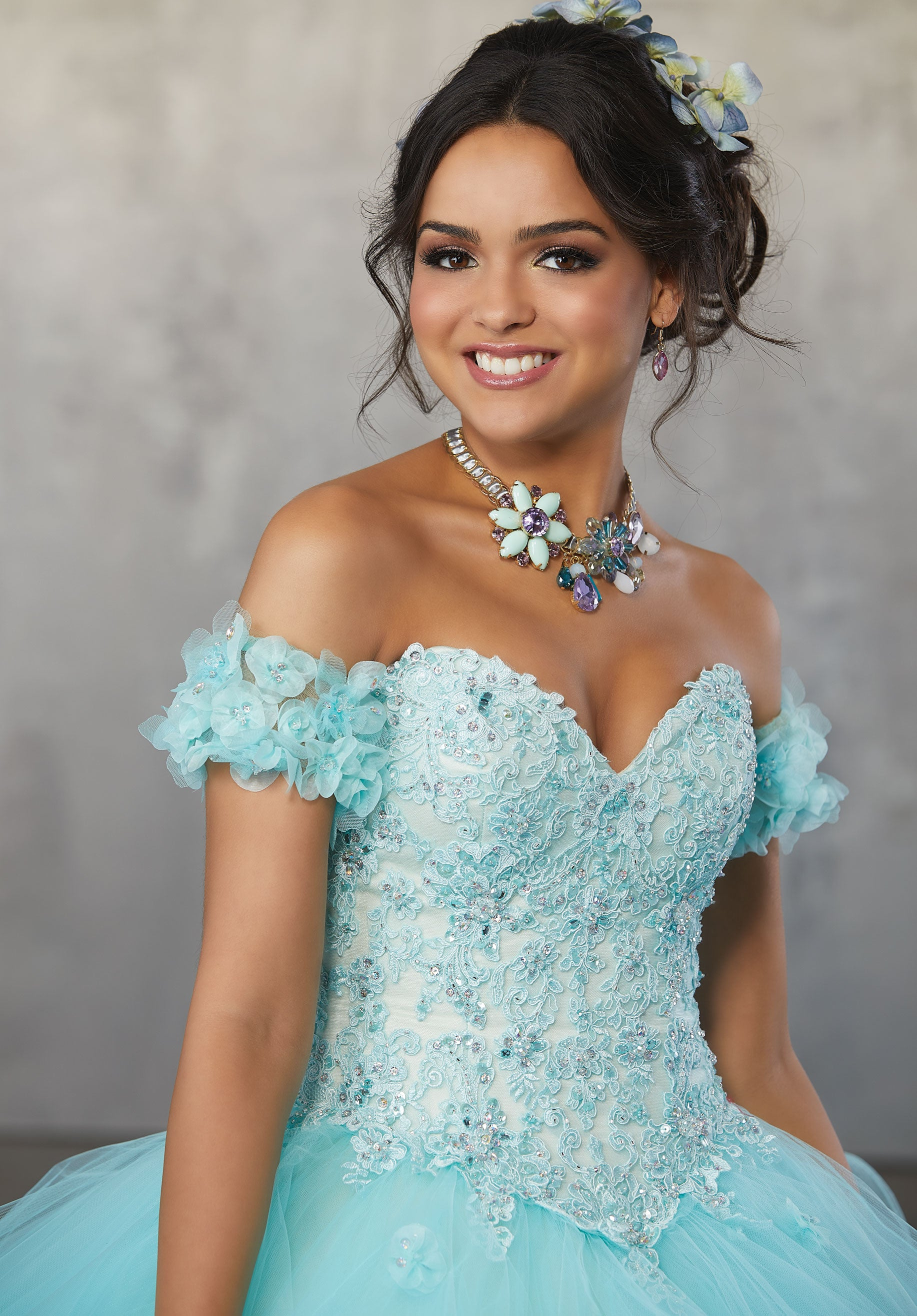 78063 Crystal Beaded Quinceanera Dress with Lace Appliqués and Three-Dimensional Flowers