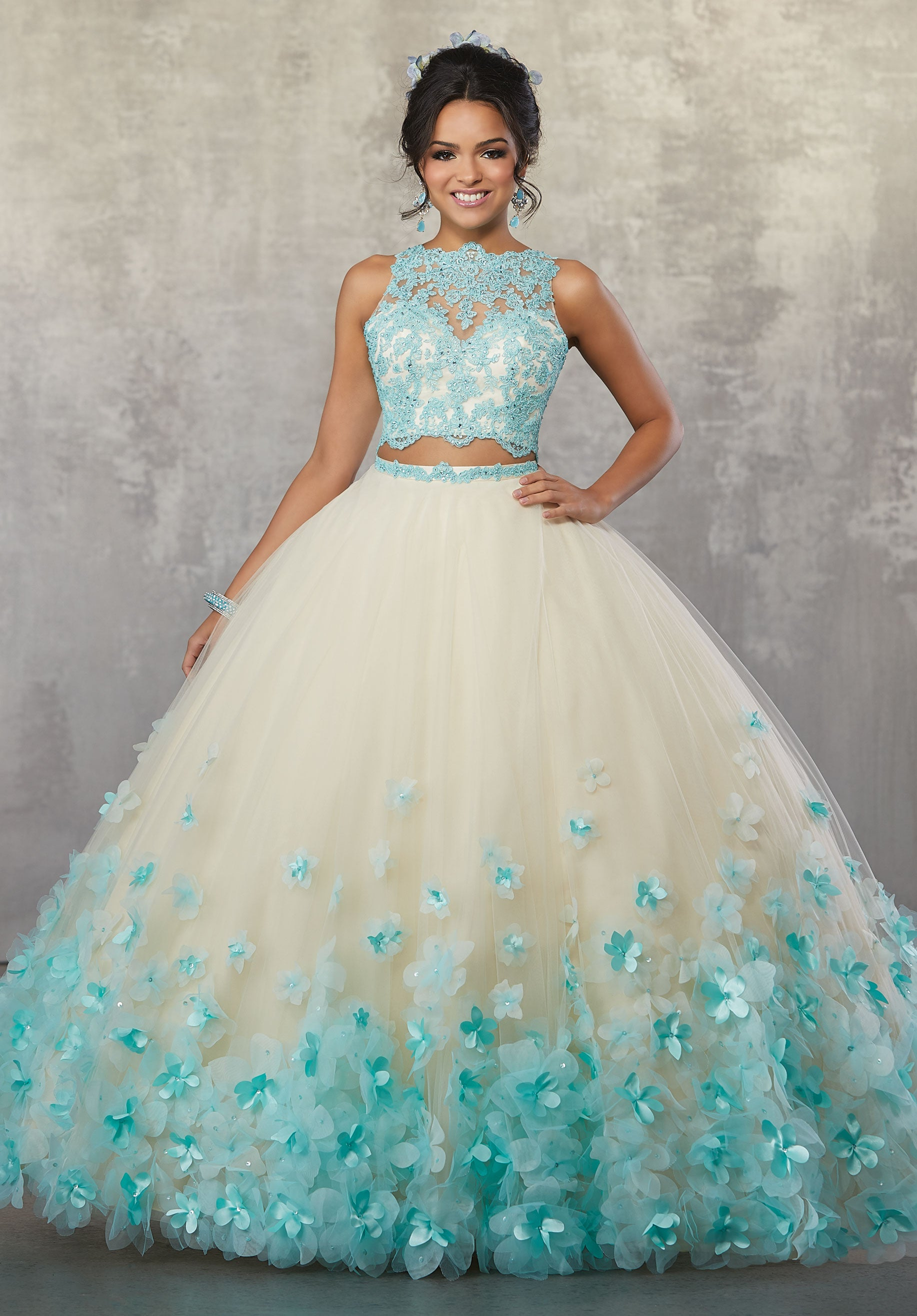 6cf8ea3d2d 78064 Two-Piece Quinceanera Gown with Beaded Lace on Net Top and Ballgown  Skirt