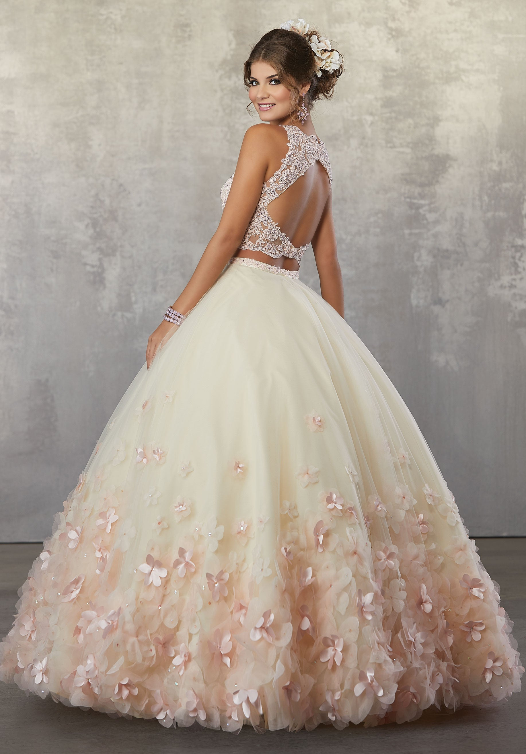 78064 Two-Piece Quinceanera Gown with Beaded Lace on Net Top and ...