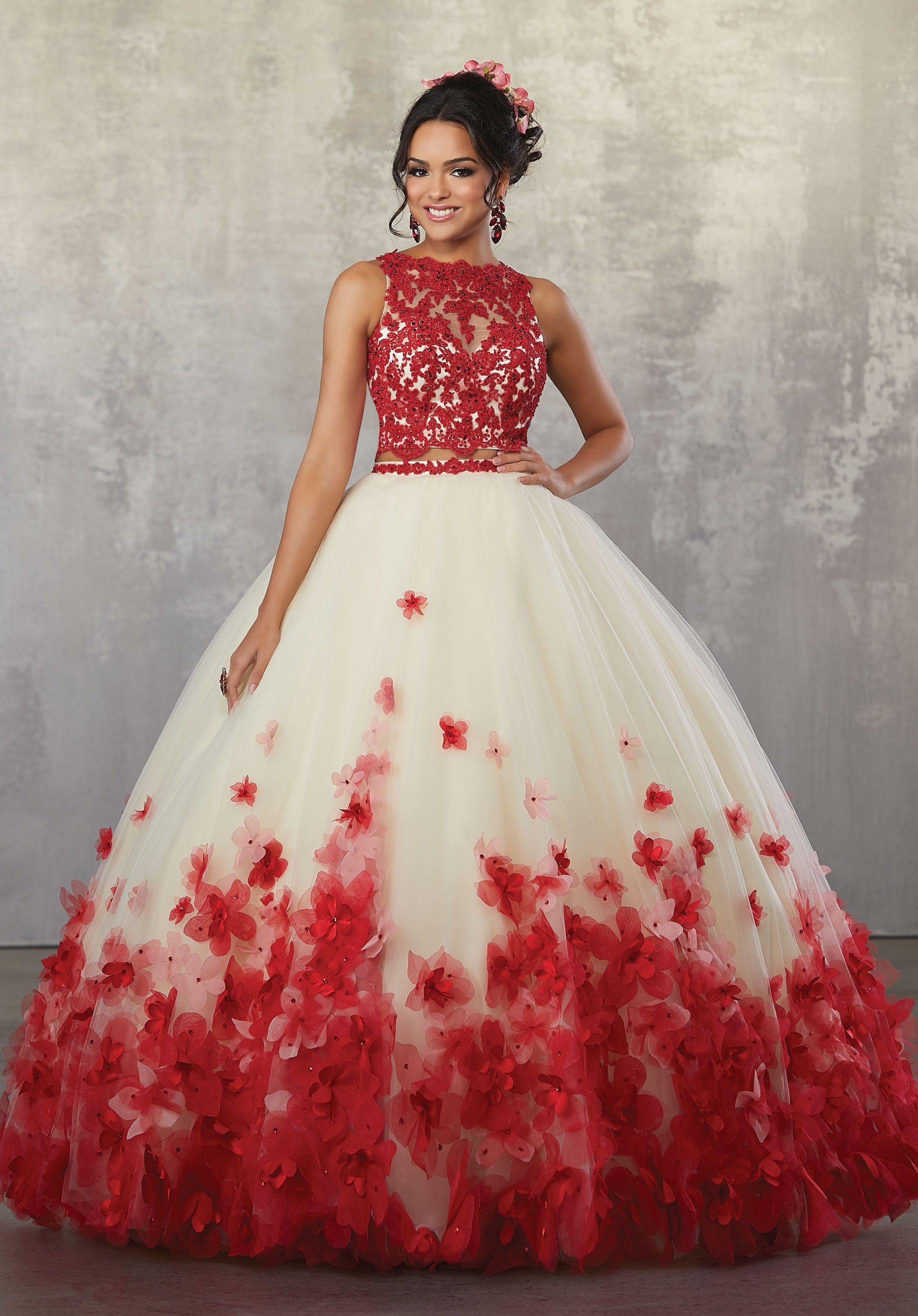 78064 Two-Piece Quinceanera Gown with Beaded Lace on Net Top and Ballgown Skirt