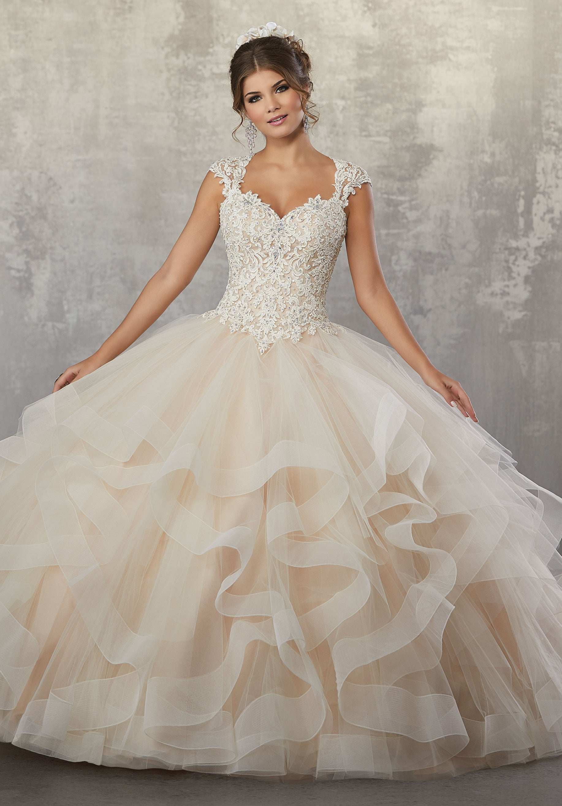 78066 Beaded Quinceanera Dress with Lace Appliqués and Necklace Back ...