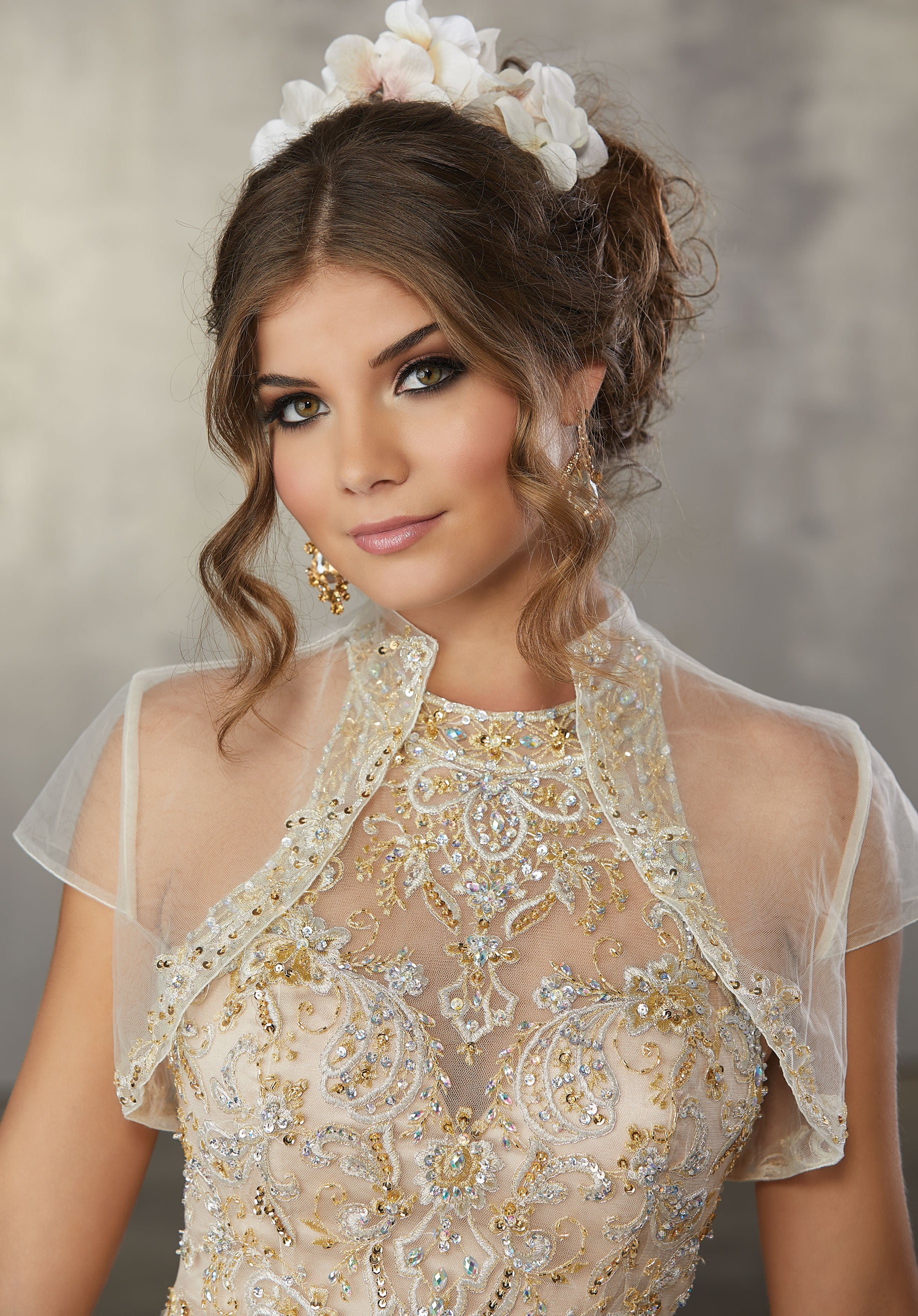 78067 Metallic, Embroidered Appliqués with Crystal Beading on a Quinceanera Tulle Ballgown