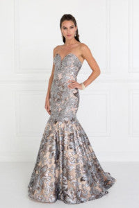 GL1508 Strapless Sequins Mermaid Gown