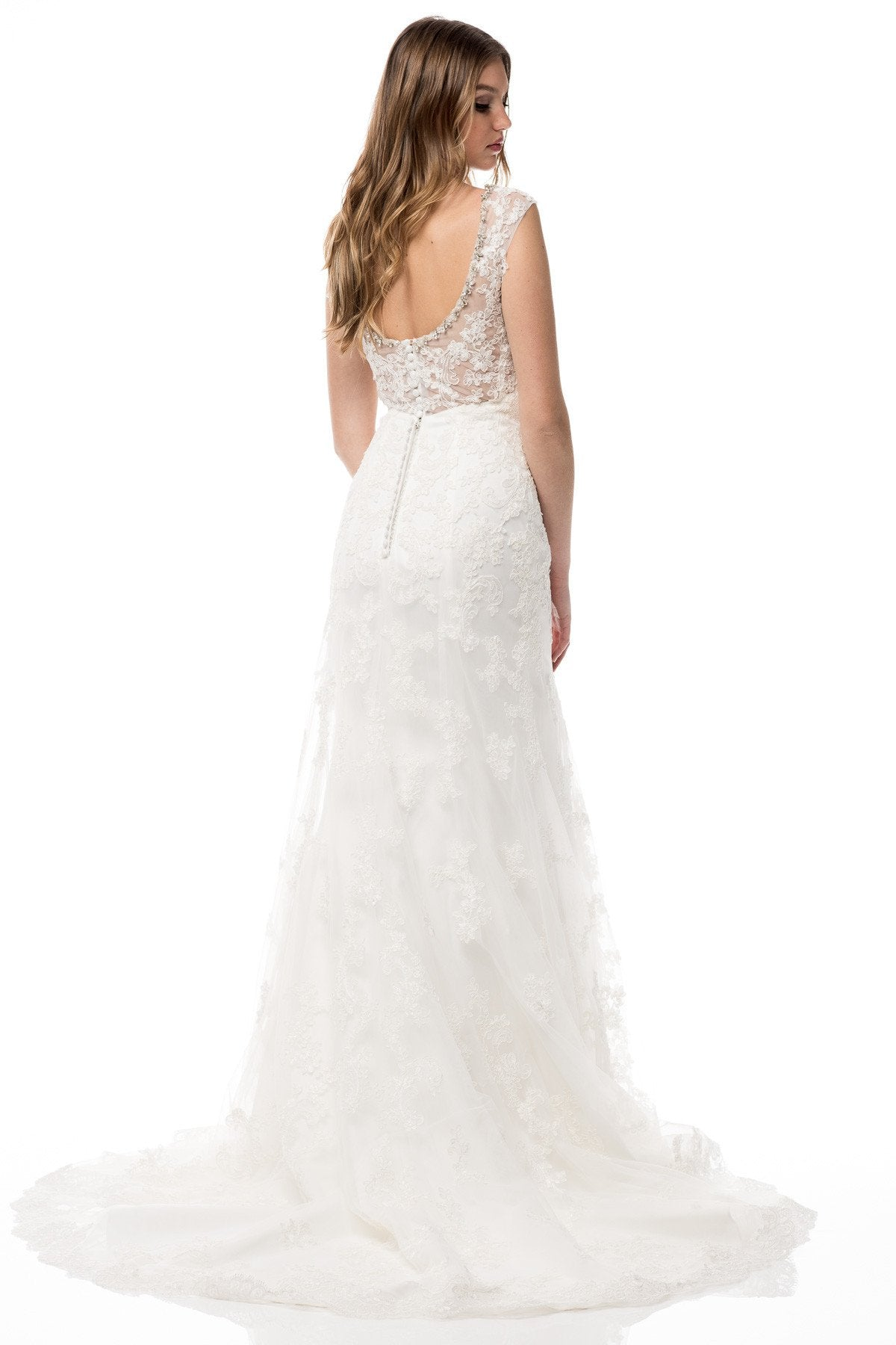 HCW062 Beaded and Lace Mermaid Gown