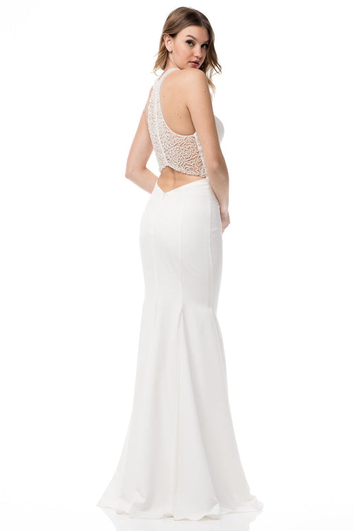IQW334 Halter Gown With Beaded Back
