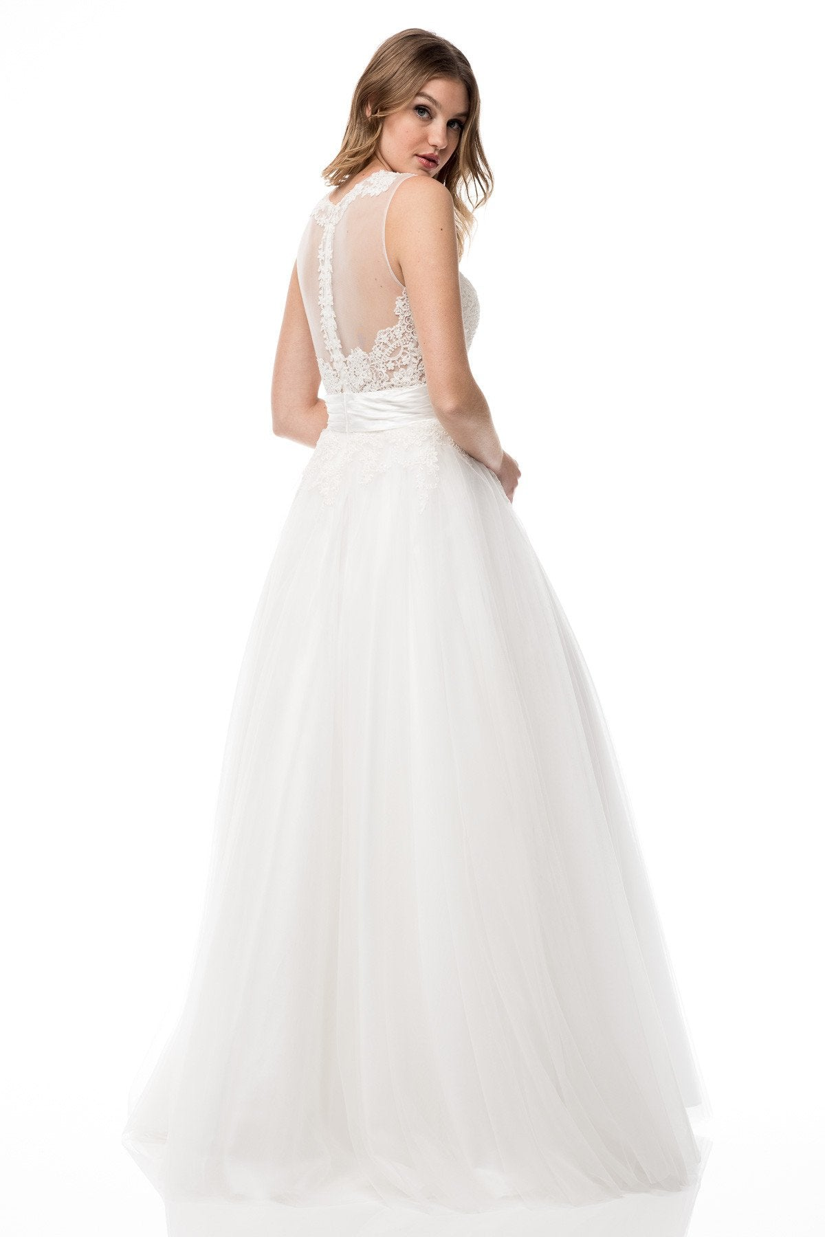 MZW2968 Tulle & Lace Sleeveless A-Line Gown