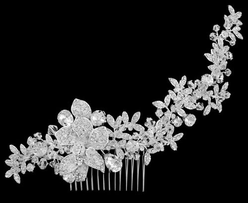 R8-3071 Jeweled Bridal Headpiece with Floral Details