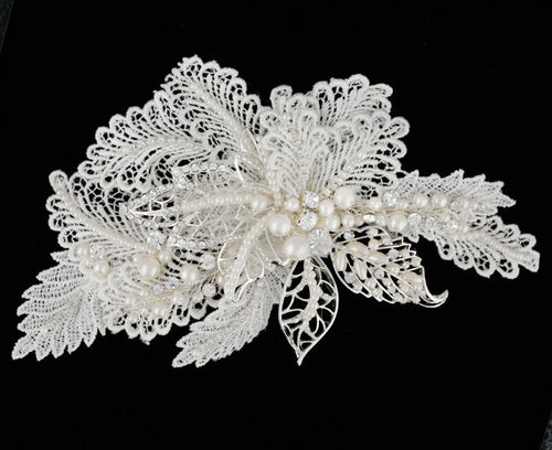 R8-3184 Bridal Headpiece with Pearls and Lace Detail
