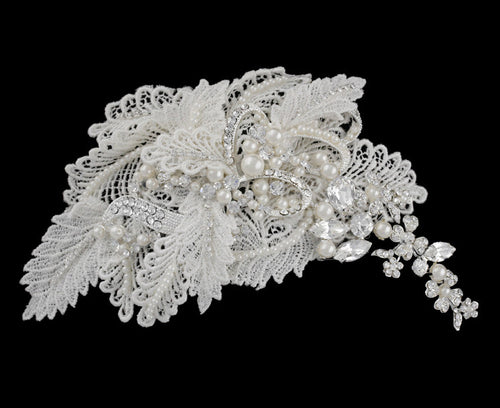 R8-3185 Bridal Headpiece with Pearls, Rhinestones, and Lace Detail