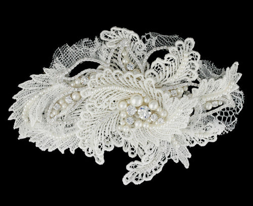 R8-3186 Bridal Headpiece with Pearls, Rhinestones, and Lace Detail