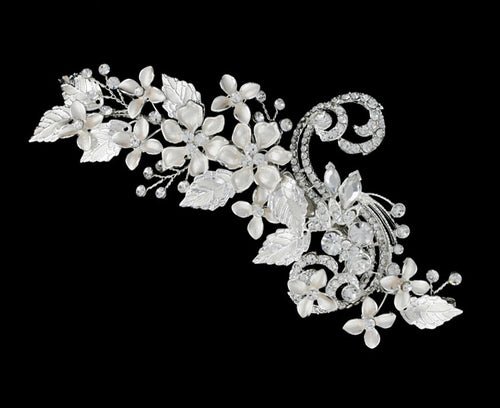 R8-3234 Bridal Headpiece with Rhinestones and Floral Detail