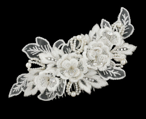 R8-3449 Bridal Headpiece Comb with Floral Details