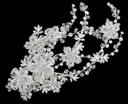 R8-3882 Bridal Headpiece with Rhinestones and Floral Details