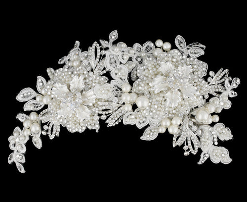 R8-3896 Bridal Headpiece with Pearls, Rhinestones, and Floral Details