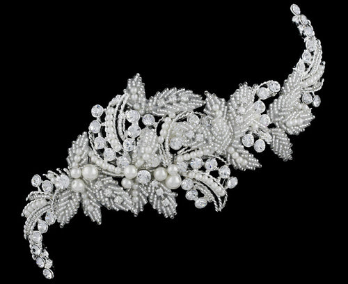 R8-4228 Jeweled Bridal Headpiece with Pearls