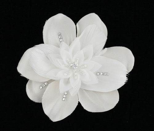 R8-4400 Floral Bridal Headpiece with Feathers