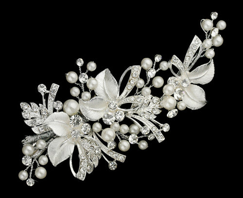 R8-5140 Pearl and Rhinestone Bridal Headpiece with Floral Detail