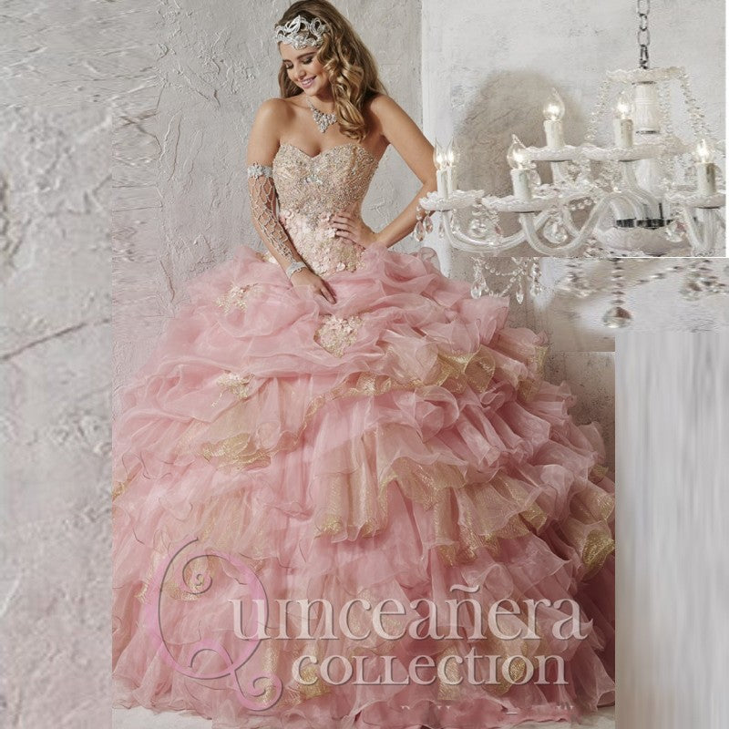26781 Beading and Flower Applique Quinceañera Dress