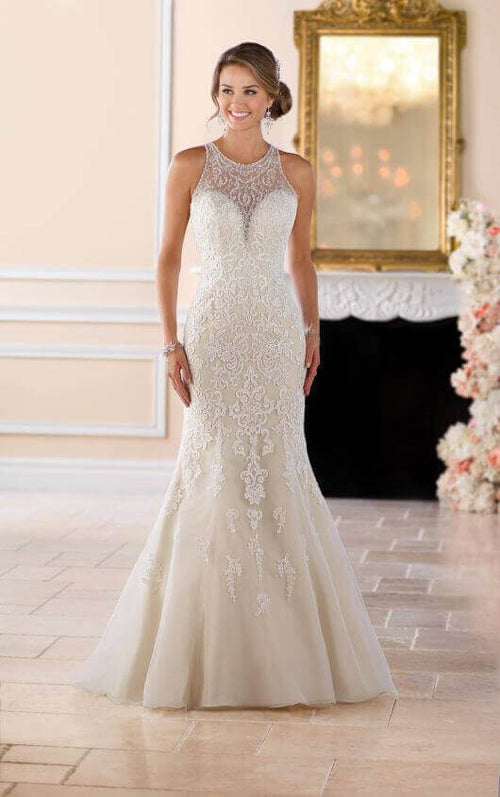 5324 Elegant High Neck Wedding Dress with Lace Beading