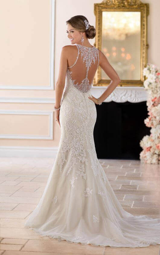 Elegant High Neck Wedding Dress with Lace Beading – Rina\'s Bridal ...