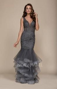 A059 Long Mermaid Gown with Horsehair Trim Skirt