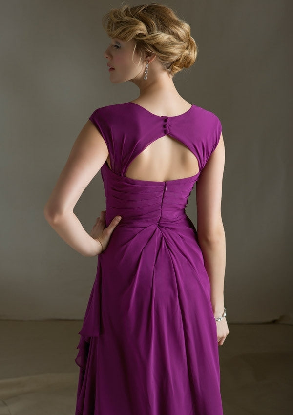 572 Long Chiffon Bridesmaids Dress with a Sweetheart Neckline and Removable Matching Cape Sleeves
