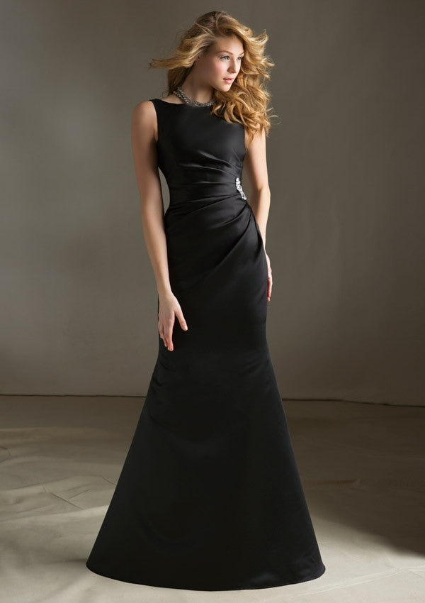 577 Long Satin Bridesmaids Dress with Bateau Neckline and Asymmetrical Ruching on Bodice and Side Brooch and V-Back
