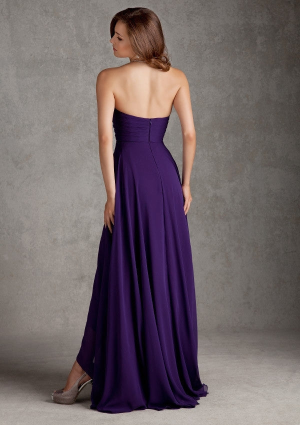 583 Strapless High-Low Chiffon Bridesmaids Dress