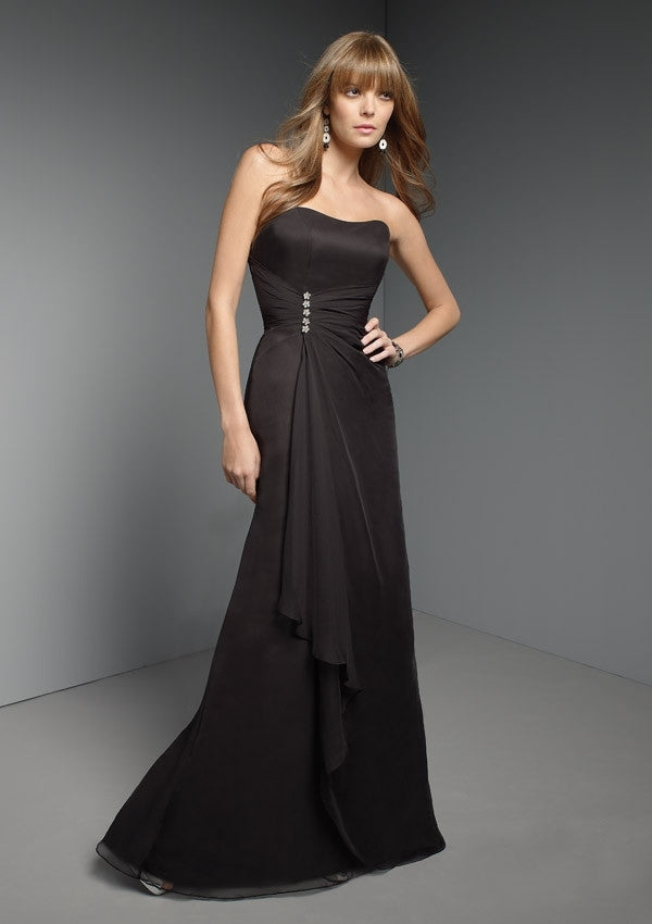 151 Long Strapless Bridesmaids Dress with Brooch and Corset Back