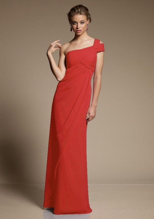 2f4042087d6 537 Long Chiffon Bridesmaids Dress with Split One Shoulder