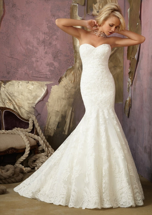 0751 Elegant Alencon Lace mermaid gown with detachable Sleeves