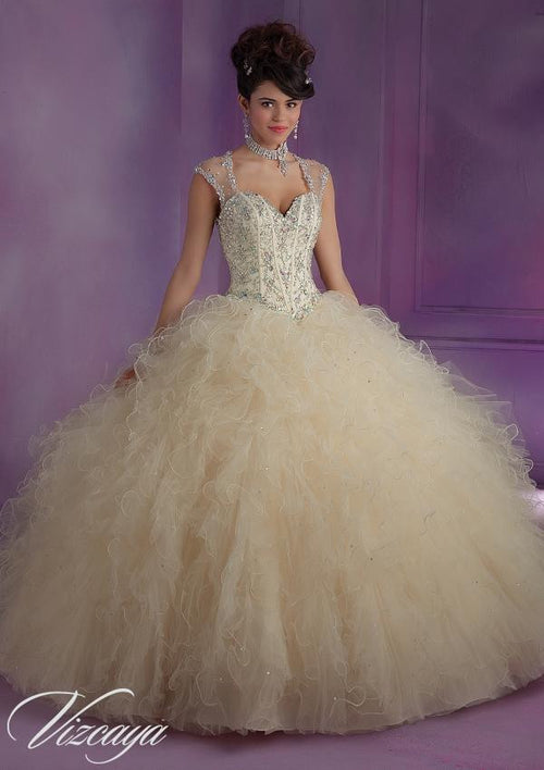 89010 Ruffled Tulle with Beading Zipper back closure/matching stole