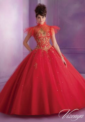 89015 Embroidered Tulle Quinceanera Dress with Beading