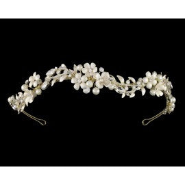 E5-5317 headband with ivory flowers and rhinestones