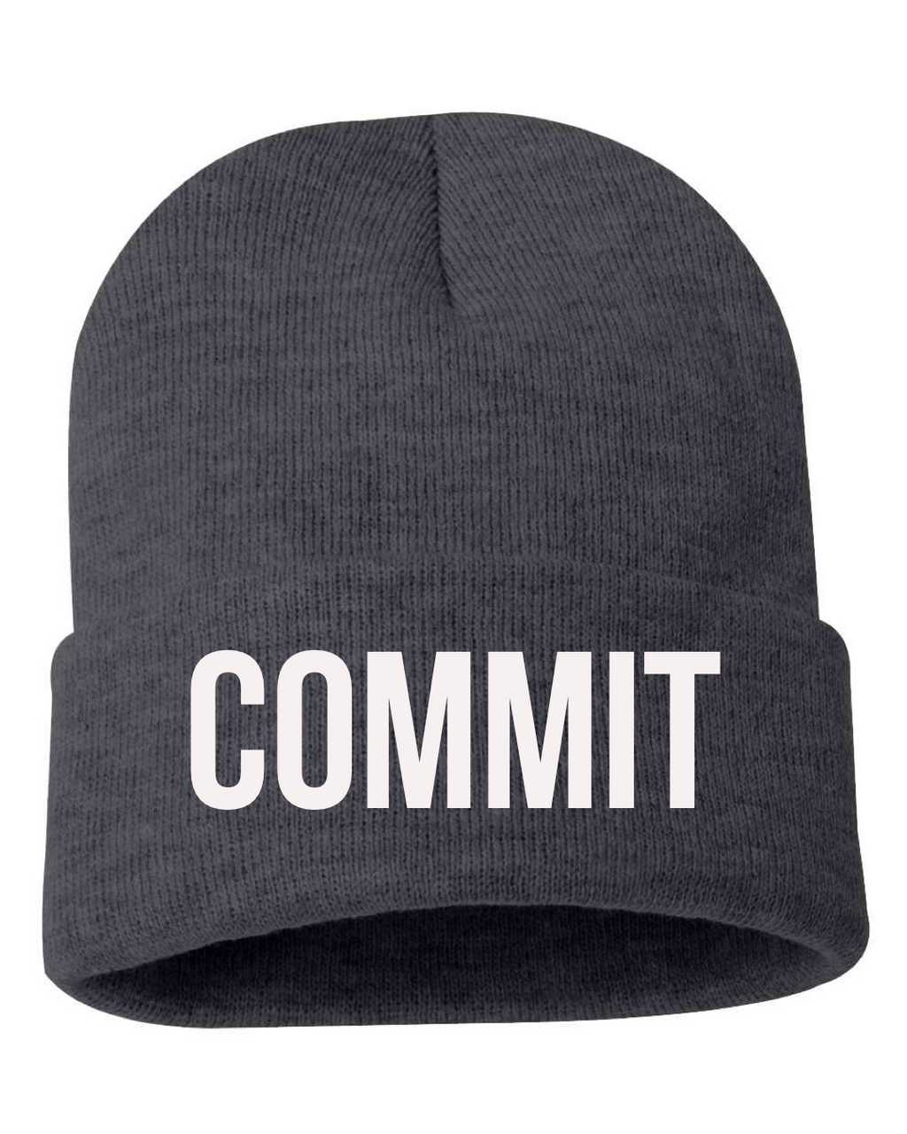 COMMT Knit Beanie - Grey/White