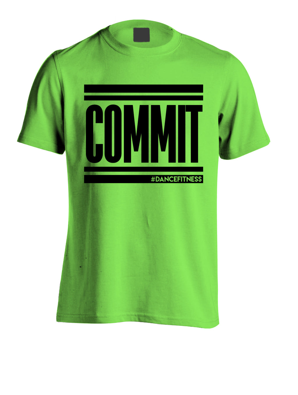 COMMIT TEE - GREEN W/ BLACK PRINT