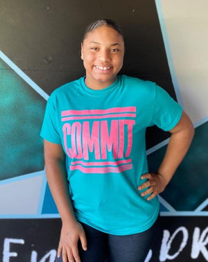 Teal with Pink COMMIT Tee